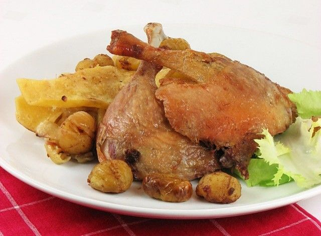 "Roasted Duck With Chestnuts and ""Mlinci"""