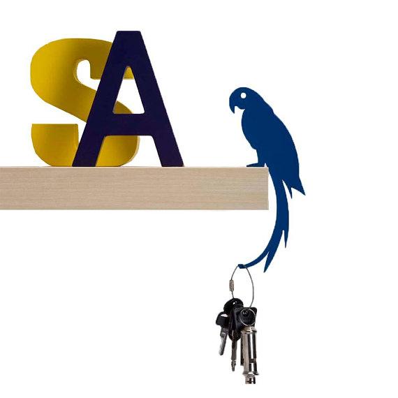 Balance Hanger // Parrot Shaped Hook Rack Blue // Bag
