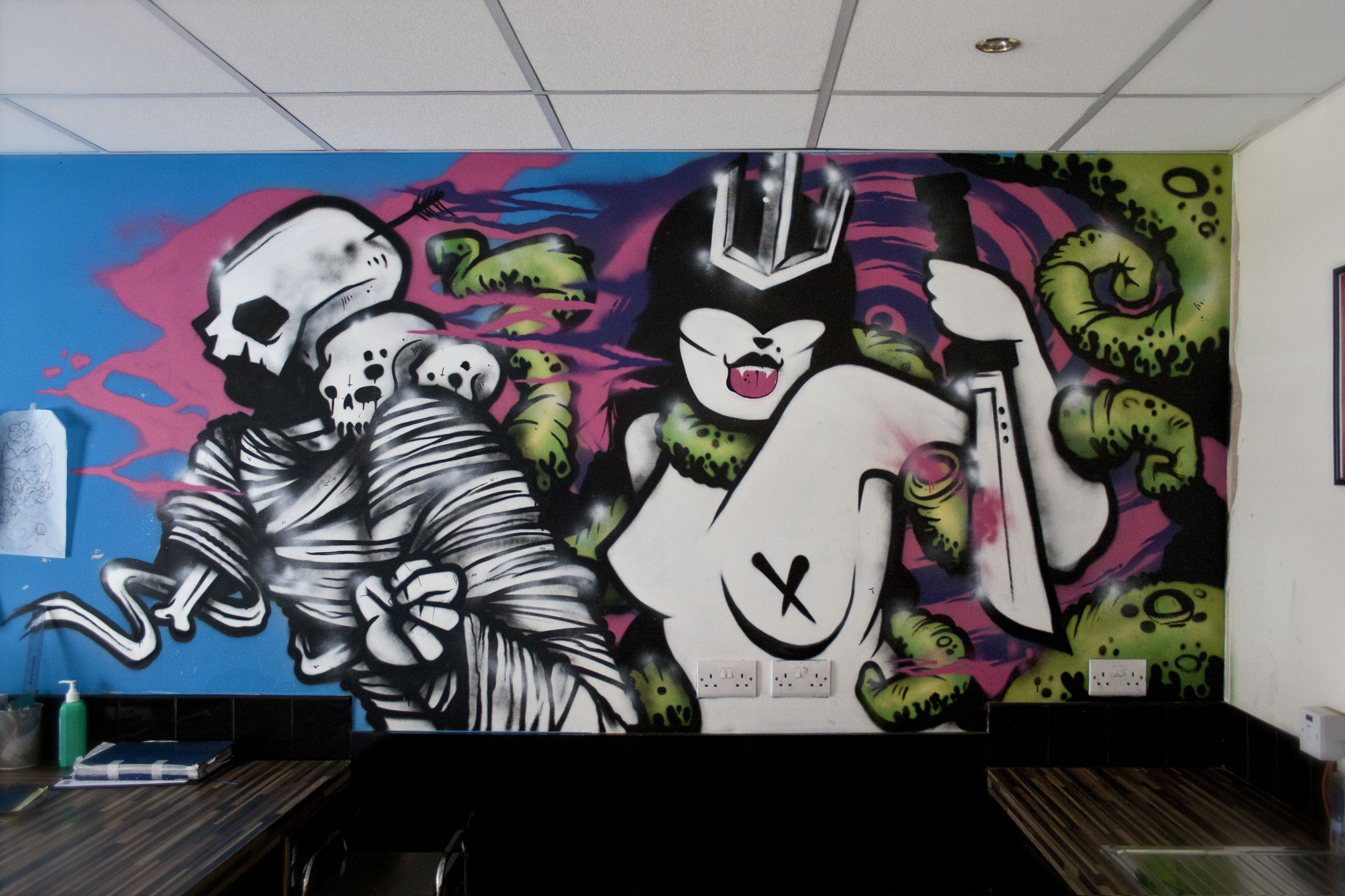 ... graffiti, street art, sheffield street art, milak, mila k, japanese  graffiti, end of the world, post apocalyptic, searching for atlantis, sea  graffiti, ...