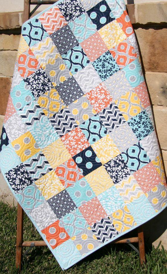Modern Baby Quilt, Gender Neutral Bedding, Boy or Girl Blanket, Grey Gray Coral Orange Navy Aqua, Patchwork Crib Cot, Geometric Chevron by SunnysideDesigns2