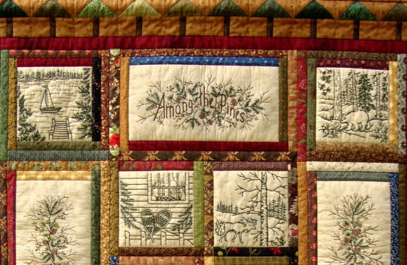 Among The Pines Quilt Pattern 10 Hand Embroidery Blocks Label