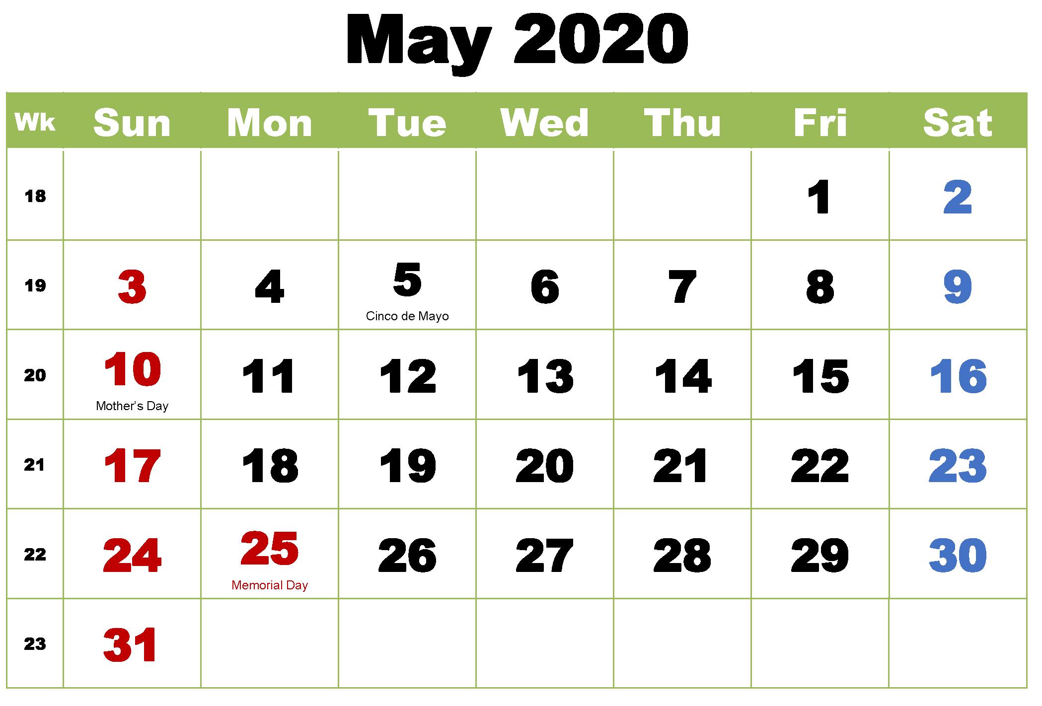 Printable May 2020 Calendar Holidays 2021 Calendar With Holidays 2021 Calendar Federal Holiday Calendar