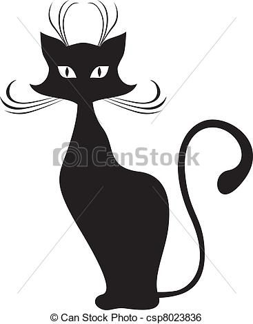 Vector - Black cat - stock illustration, royalty free illustrations, stock clip art icon, stock clipart icons, logo, line art, EPS picture, pictures, graphic, graphics, drawing, drawings, vector image, artwork, EPS vector art