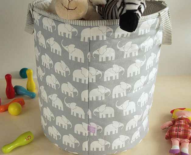 Aufbewahrungskorb Kinderzimmer Elefanten grau | Aufbewahrungskörbe ...