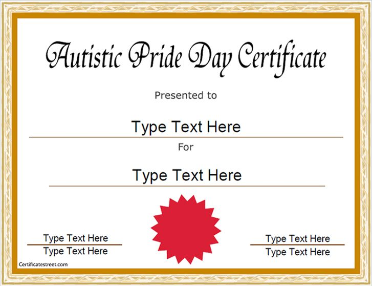 Special Certificate - Autistic Pride Day Certificate - microsoft word certificate borders