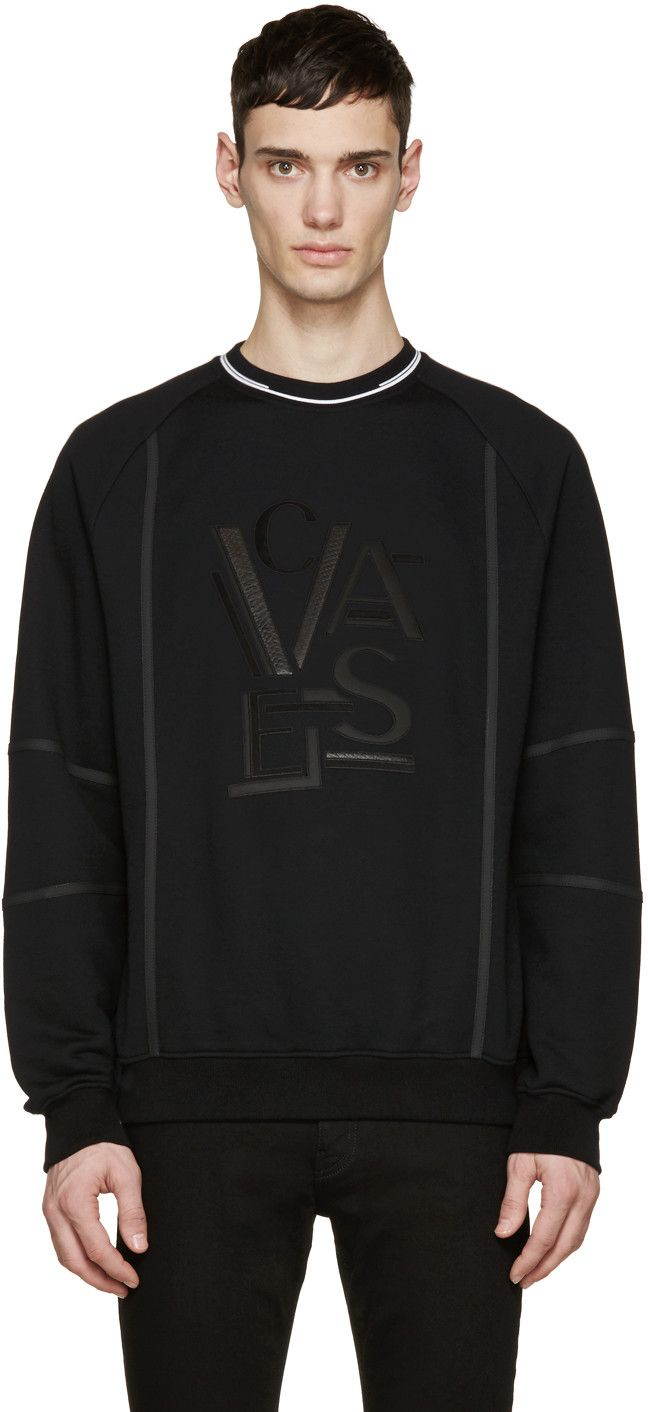 VERSACE Black Leather Logo Pullover.  versace  cloth  pullover ... 92dd89bae45