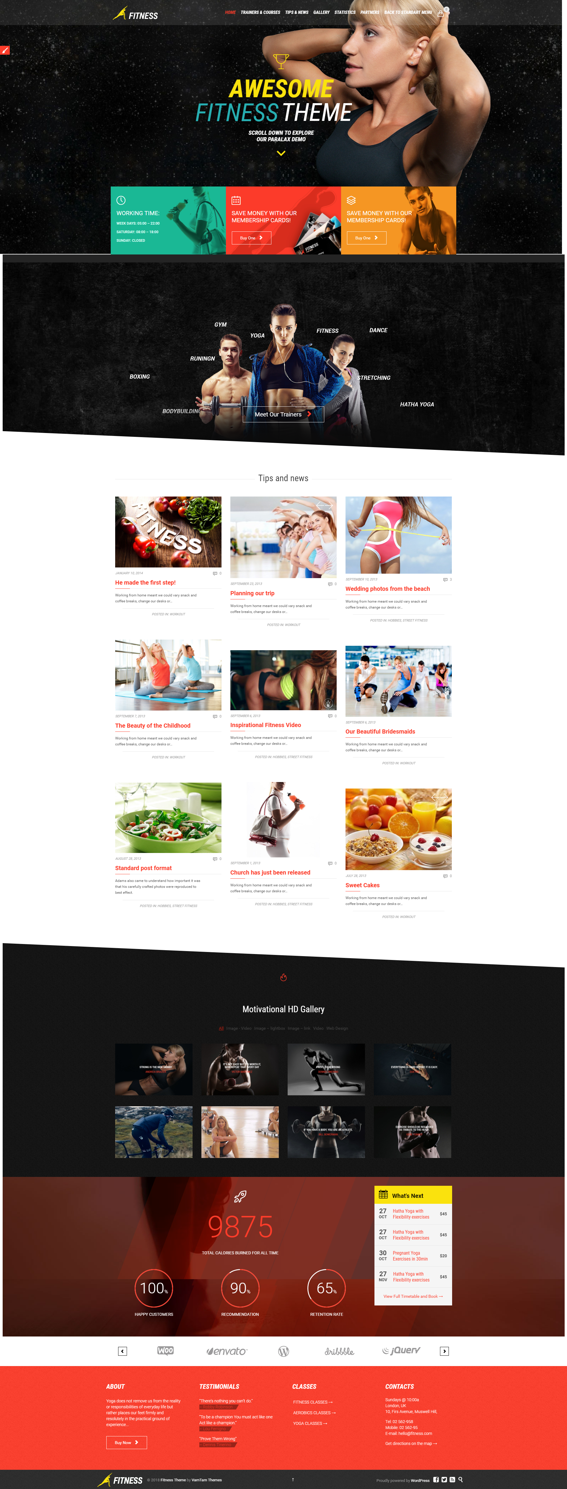 The theme is built for Sport Clubs, Health Clubs, Gyms