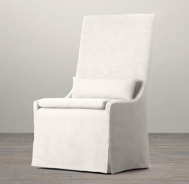 Restoration Hardware SET OF 4 Slope Dining Side Chair Natural Linen SLIP COVERS RestorationHardware