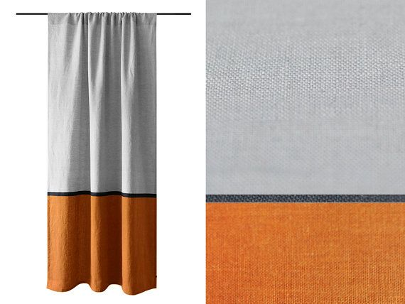 Curtain Panels Color Block Curtains Rust And Dove Grey Curtains