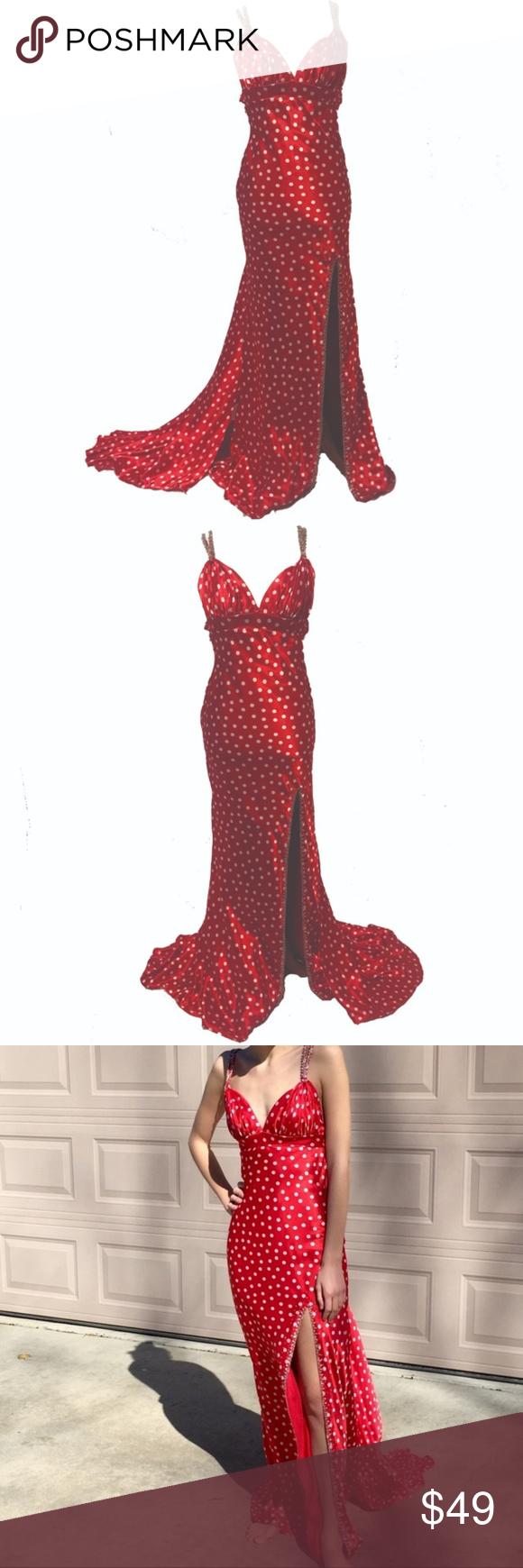 Red Polka Dot Prom Dress