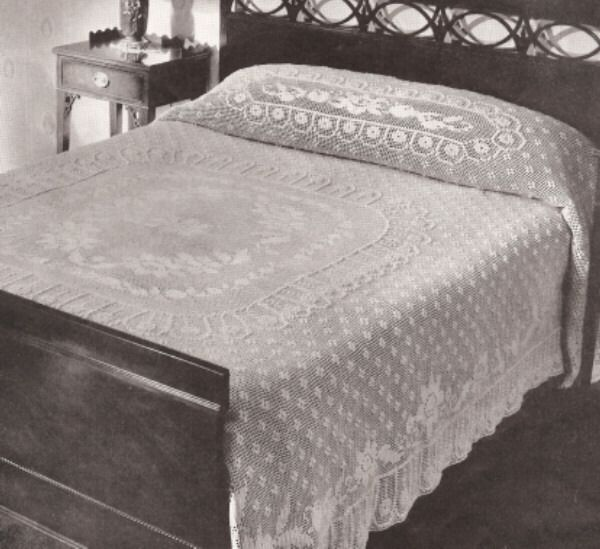Free Online Filet Crochet Bedspread Pattern Booth Vintage