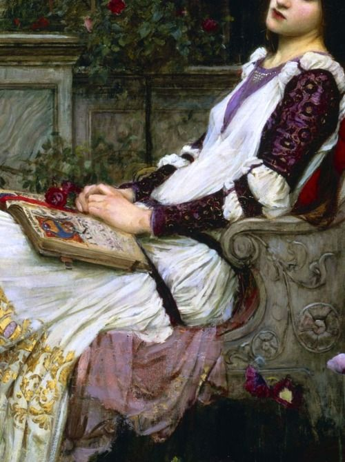 """the-garden-of-delights:  """"Saint Cecilia"""" (1895) (detail) by John William Waterhouse (1849-1917)."""