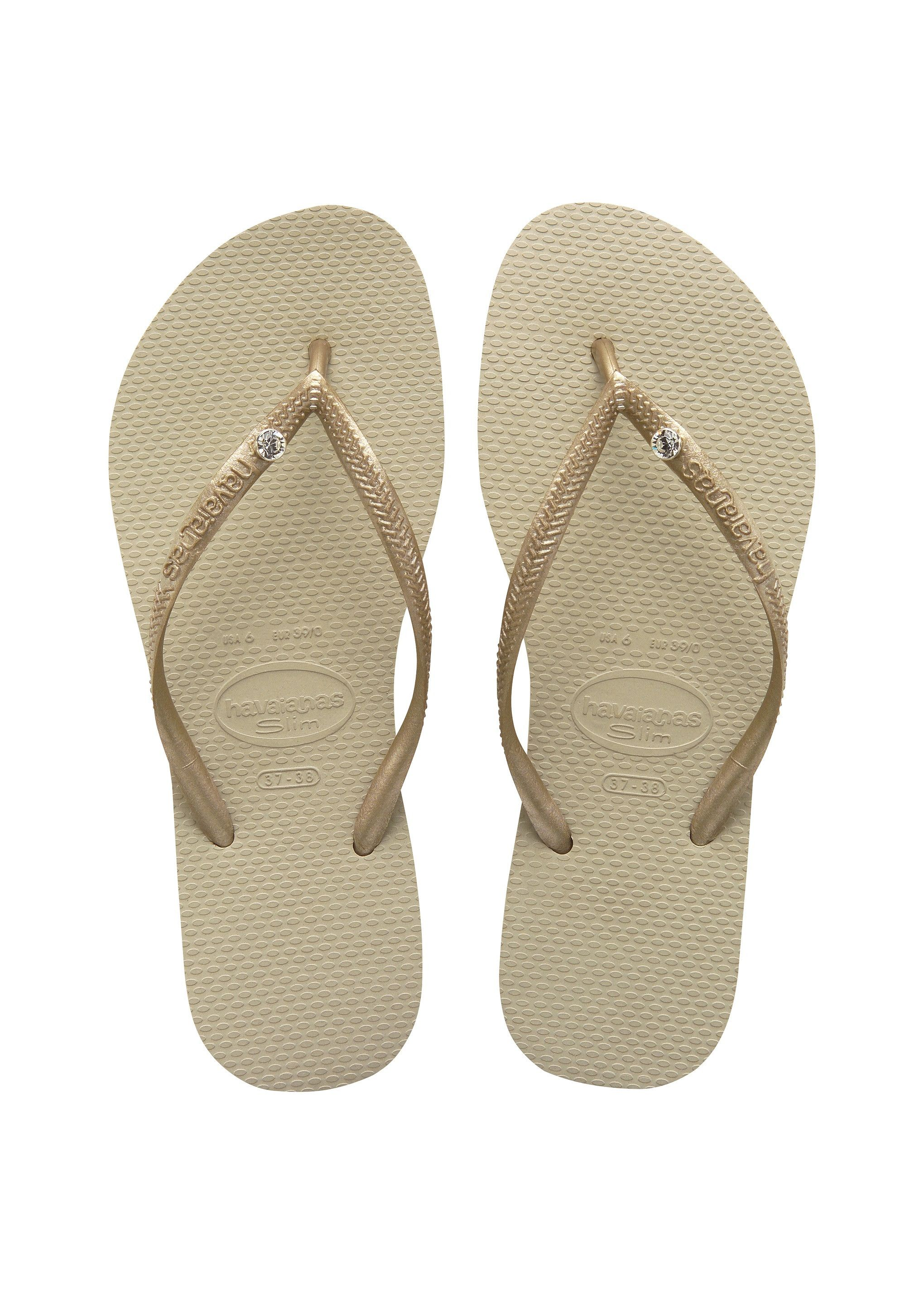 c2a0ef8ff Havaianas Slim Crystal Glamour Sw Sandal Sand Grey Light Gold Price From   30