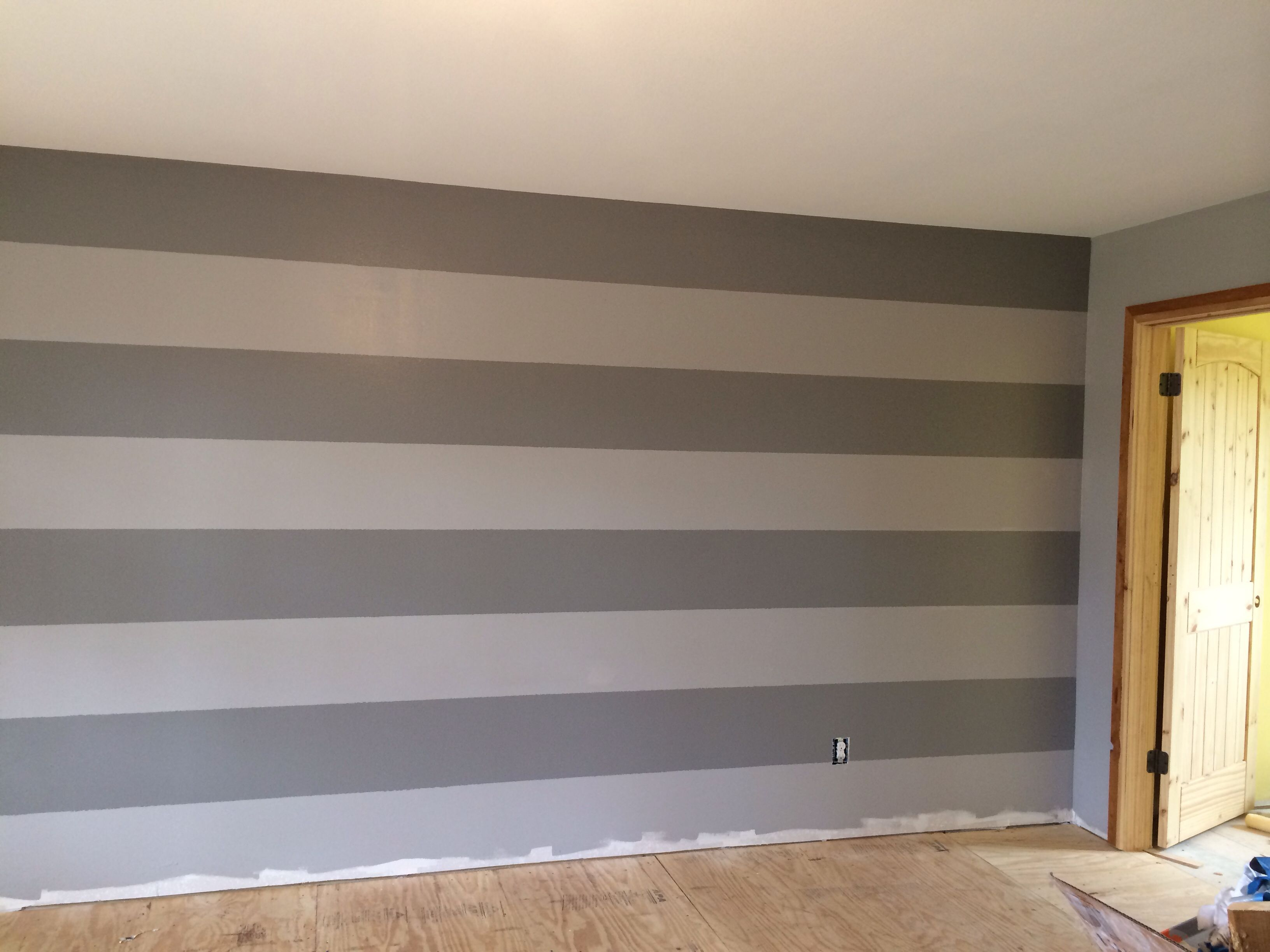 Gray stripes wall. Behr paint colors Porpoise & Anonymous #graystripedwalls Gray stripes wall. Behr paint colors Porpoise & Anonymous #graystripedwalls