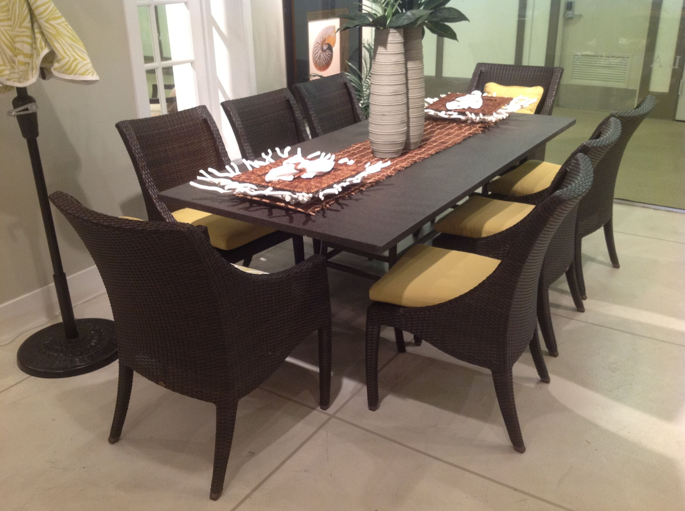 The Athena Outdoor Dining Table And Chairs In The Summer Classics Chicago  Casual Furniture Market Showroom