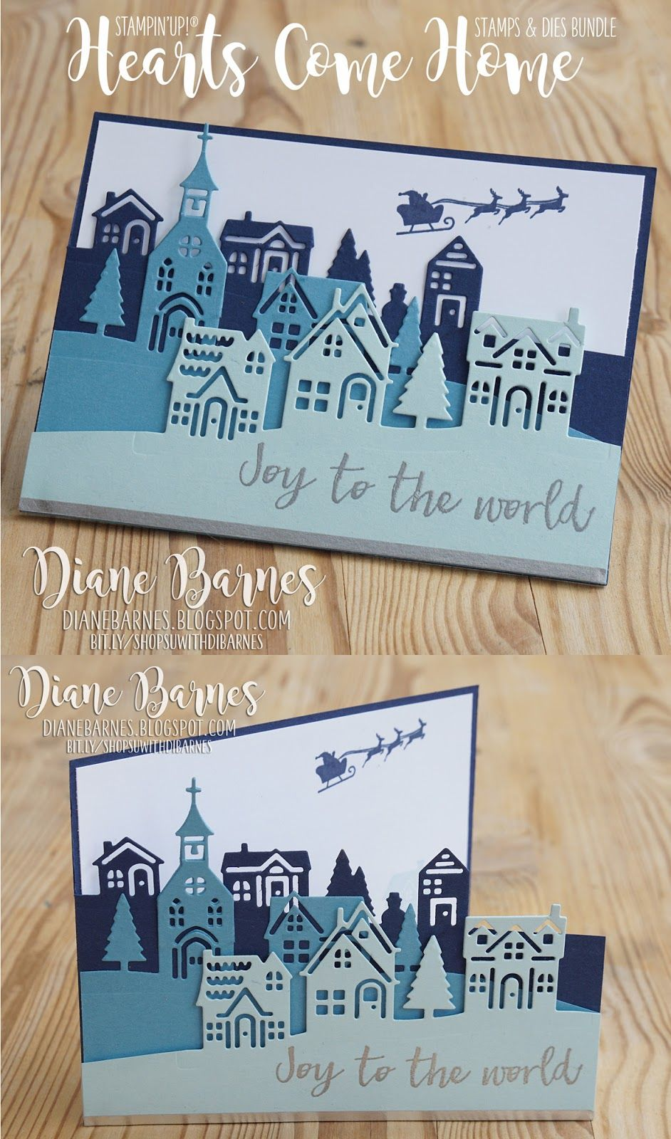 Handmade Village Scene Christmas Card Made With Stampin Up Hearts