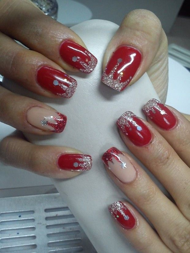 17 Sparkly Nail Designs for New Year\'s Eve Party | Red nails ...