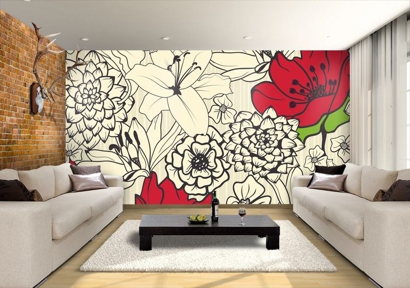 Wall painting mural of black and white flower with red for Mural indonesia