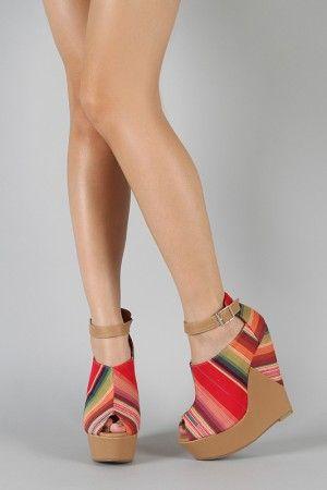 13002f6256d0 Serape platform wedges Peep Toe Wedges, Wedge Shoes, Boho Shoes, Womens  Shoes Wedges