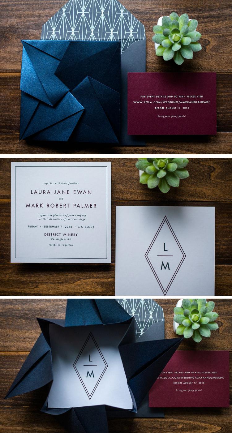 Photo of Art Deco Origami Wedding Invitation Suite