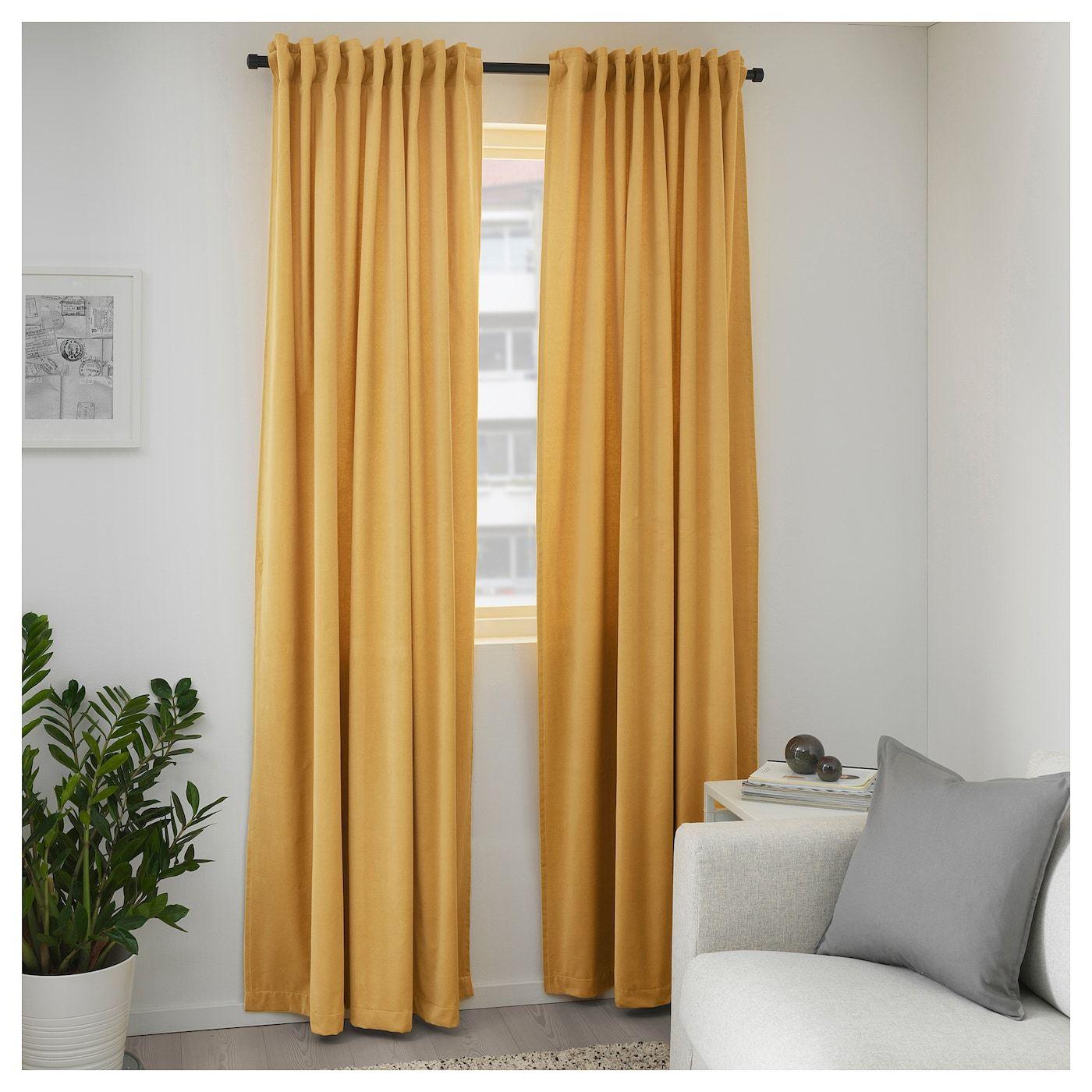 Ikea Sanela Room Darkening Curtains 1 Pair Golden Brown Room