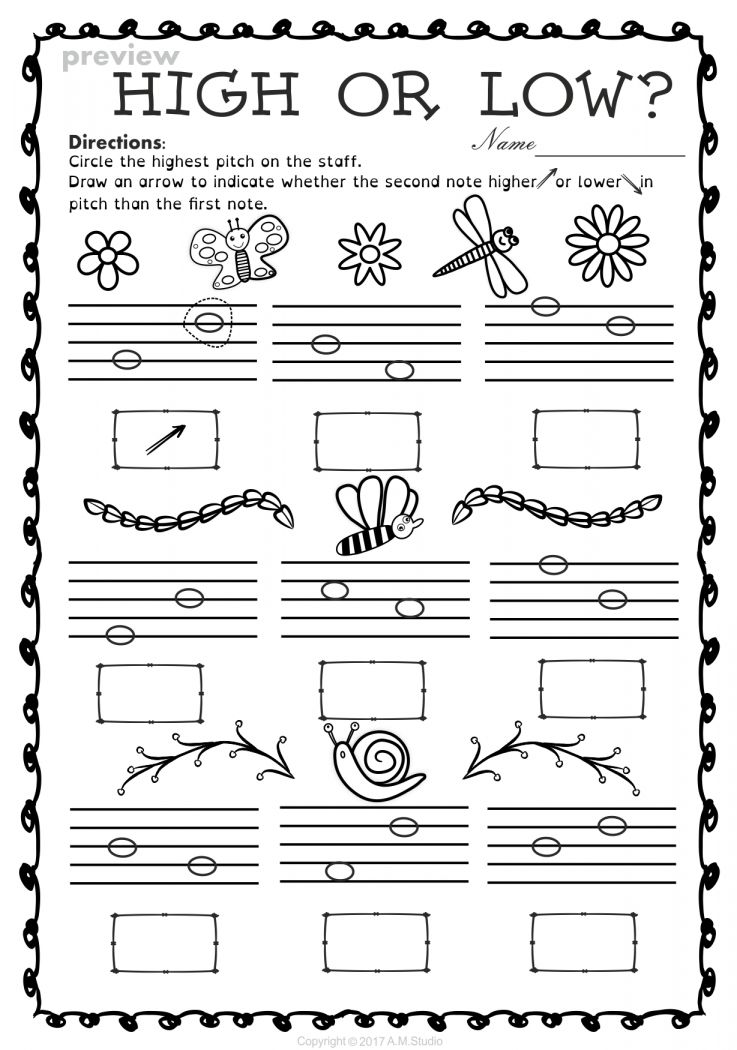 16 High And Low Worksheet For Kindergarten In 2020 Elementary Music Worksheets Elementary Music Teacher Elementary Music