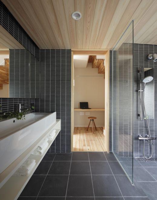 阿川 宮鳥 ヤジ邸 周辺環境に馴染む家を目指して Linkle 浴室 黒 家 ガーデンシンク