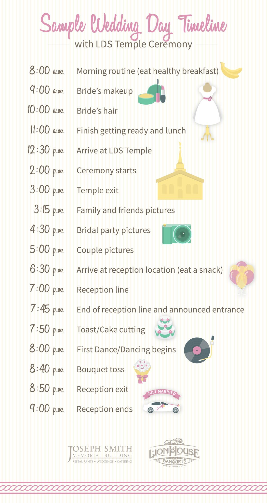 Sample Wedding Day Timeline Including Lds Temple Ceremony See More To Learn How Build Your Own