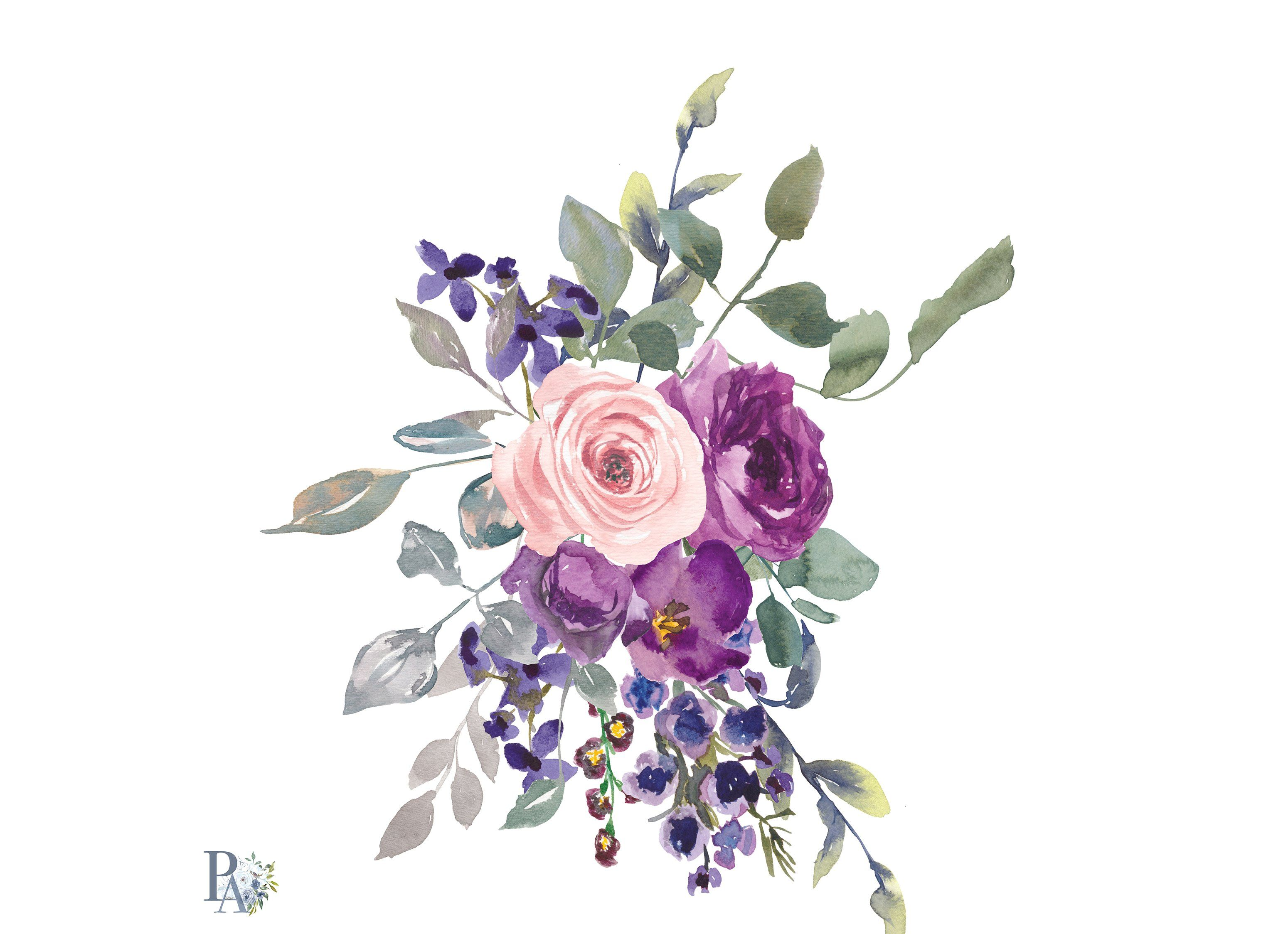 Watercolor Plum Blush Flowers Clipar Flower Illustration Dark