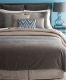 Bryan Keith Jackson Chevron Zig Zag Reversible Blue Brown Taupe California King Comforter Set NEW (Clearance)