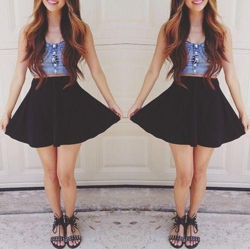 sandals, high waisted skirt, crop top ♥ | Dream Wardrobe ...