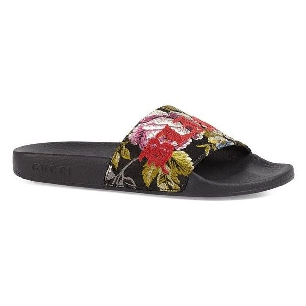 be2235e22 Gucci Pursuit Romantic Floral Jacquard Slides ( 495) ❤ liked on Polyvore  featuring shoes
