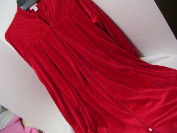 Gorgeous Red Long Velour Robe da989d0c8