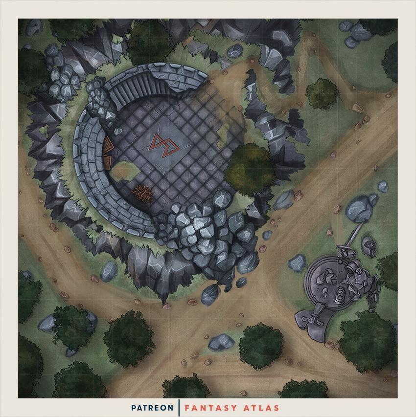 Oc Toppled Tower Battlemap Battlemaps Fantasy Map Pathfinder Maps Dnd World Map