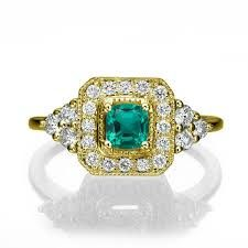 Image result for vintage gold engagement rings emerald