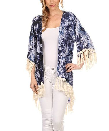 Navy Floral Lace-Trim Open Cardigan #zulily #zulilyfinds