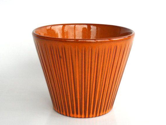Orange Planter West German 12cm 17 Cactus Pot Ceramic Flower Pots Summer Flowers