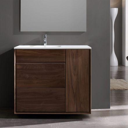 Meuble salle de bain en Noyer 100 Cm, 2 tiroirs, plan composite