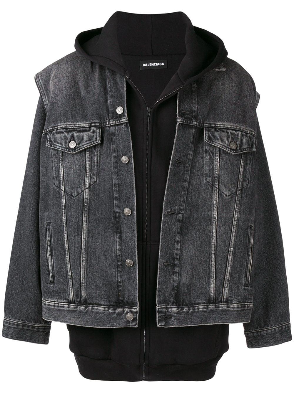 Balenciaga Twinset Hoodie Denim Jacket In Black Modesens Denim Jacket With Hoodie Embellished Denim Jacket Black Denim Jacket