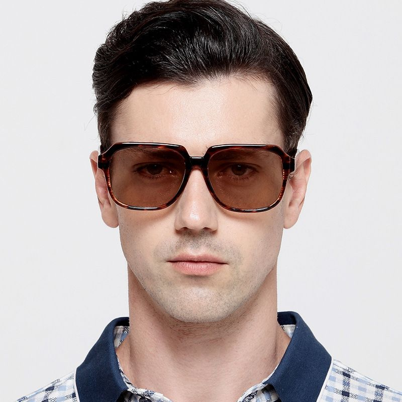 Vazrobe Best Quality Crystal Glass Sunglasses Men UV400 Protection Sun Glasses for Male Large Square Brown Lens Tortoise Goggles