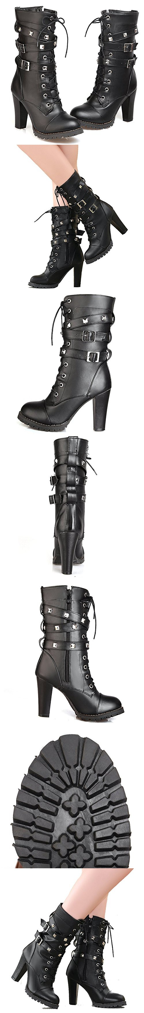 20f985b3b9f1a Susanny Women s Mid Calf Leather Boots Chic High Heel Lace Up Military  Buckle Motorcycle Cowboy Black