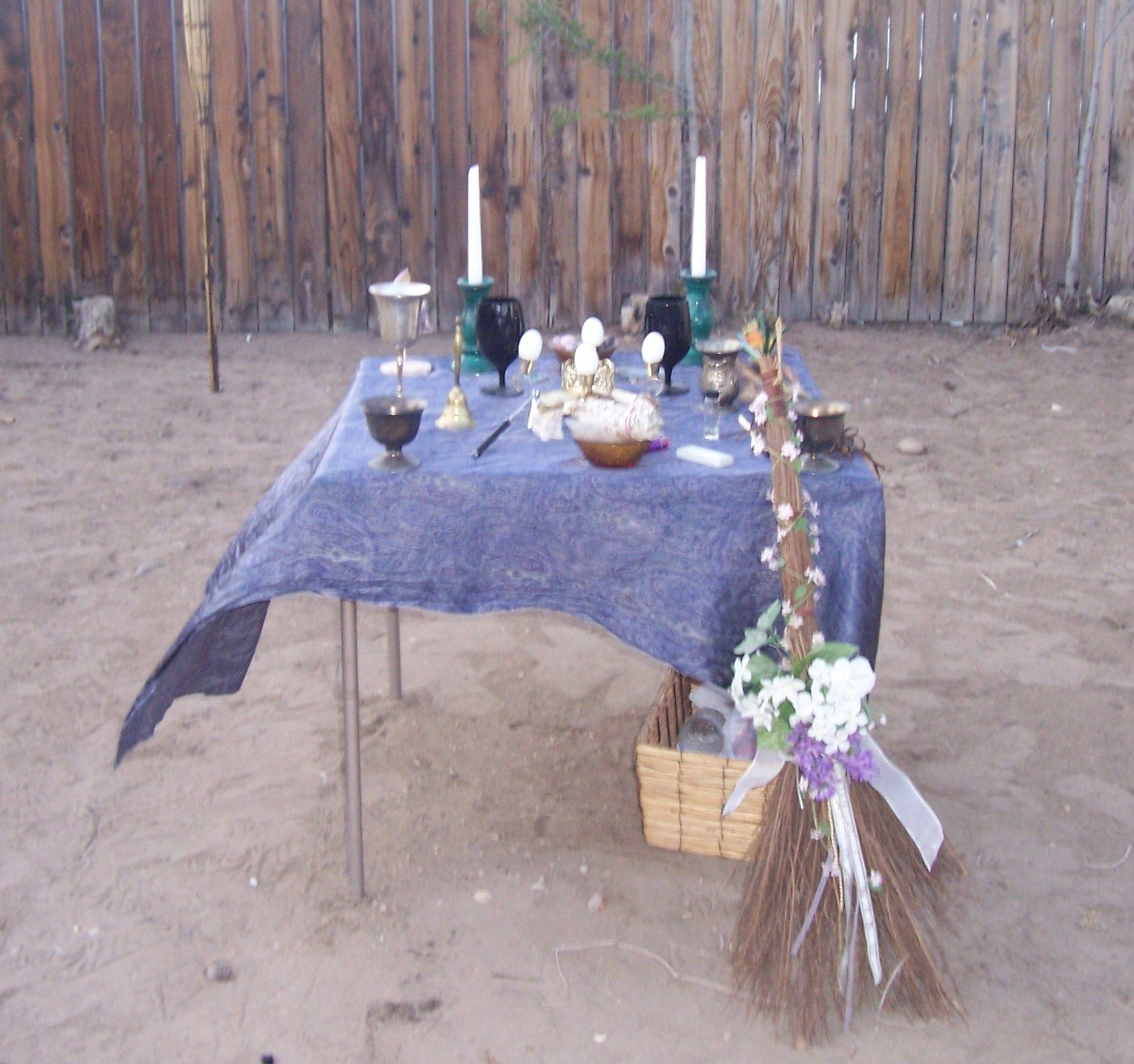 My Beautiful Beltane Altar on May 4, 2013 Which was  not only the 9th  Anniversary  of my husbands n my Hand fasting, but  also My Birthday