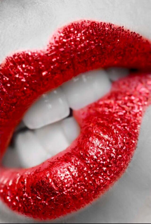 Red Glitter Infused Beautiful Lips Love Lips Red Lips