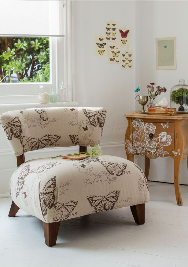 Sofa Covered With Butterfly Fabric Themes In Furniture And Wall Sticker  Change Style Of Homes Interior