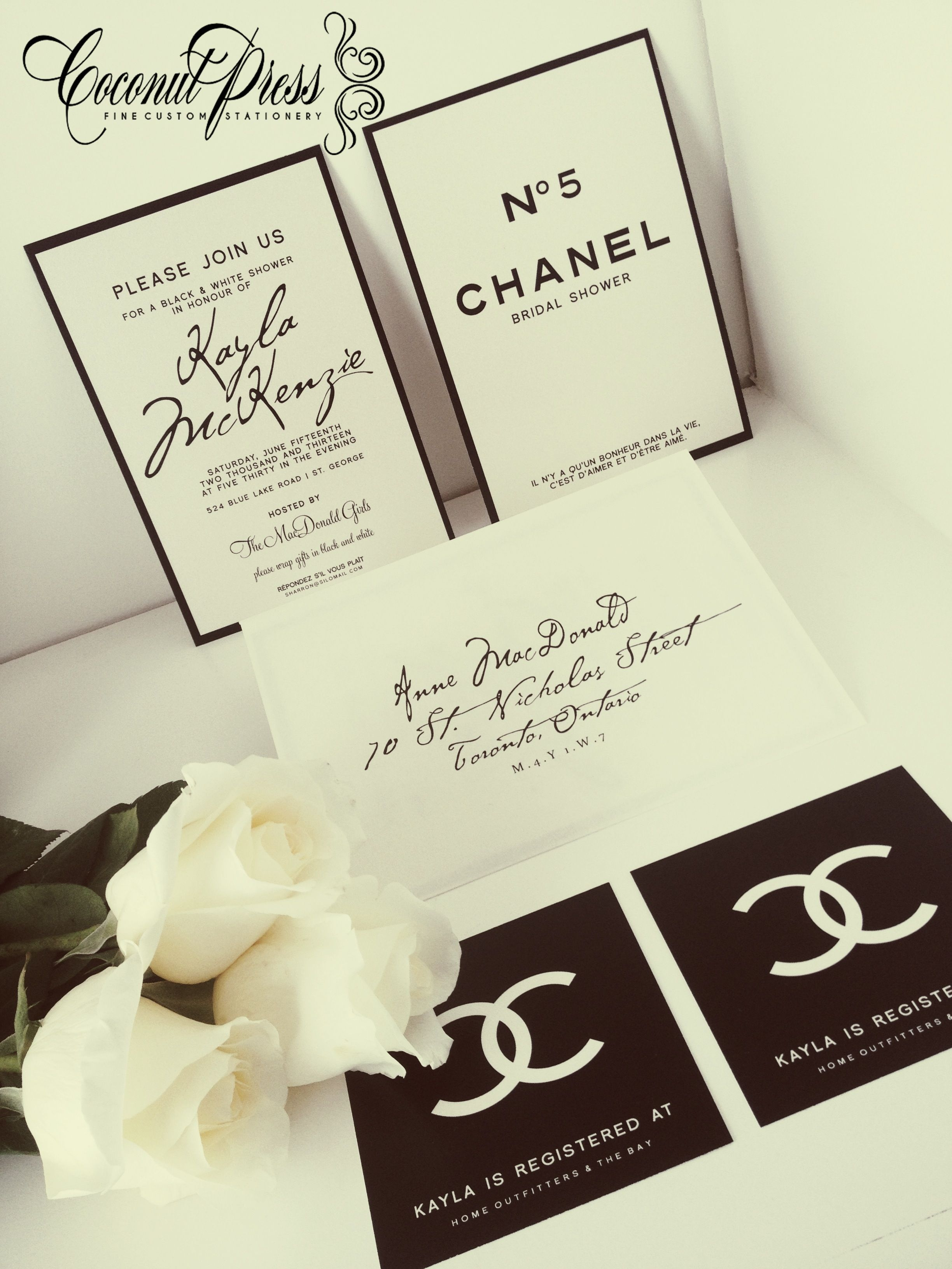 Coco chanel inspired black white shower invitations by coconut coco chanel inspired black white shower invitations by coconut press filmwisefo