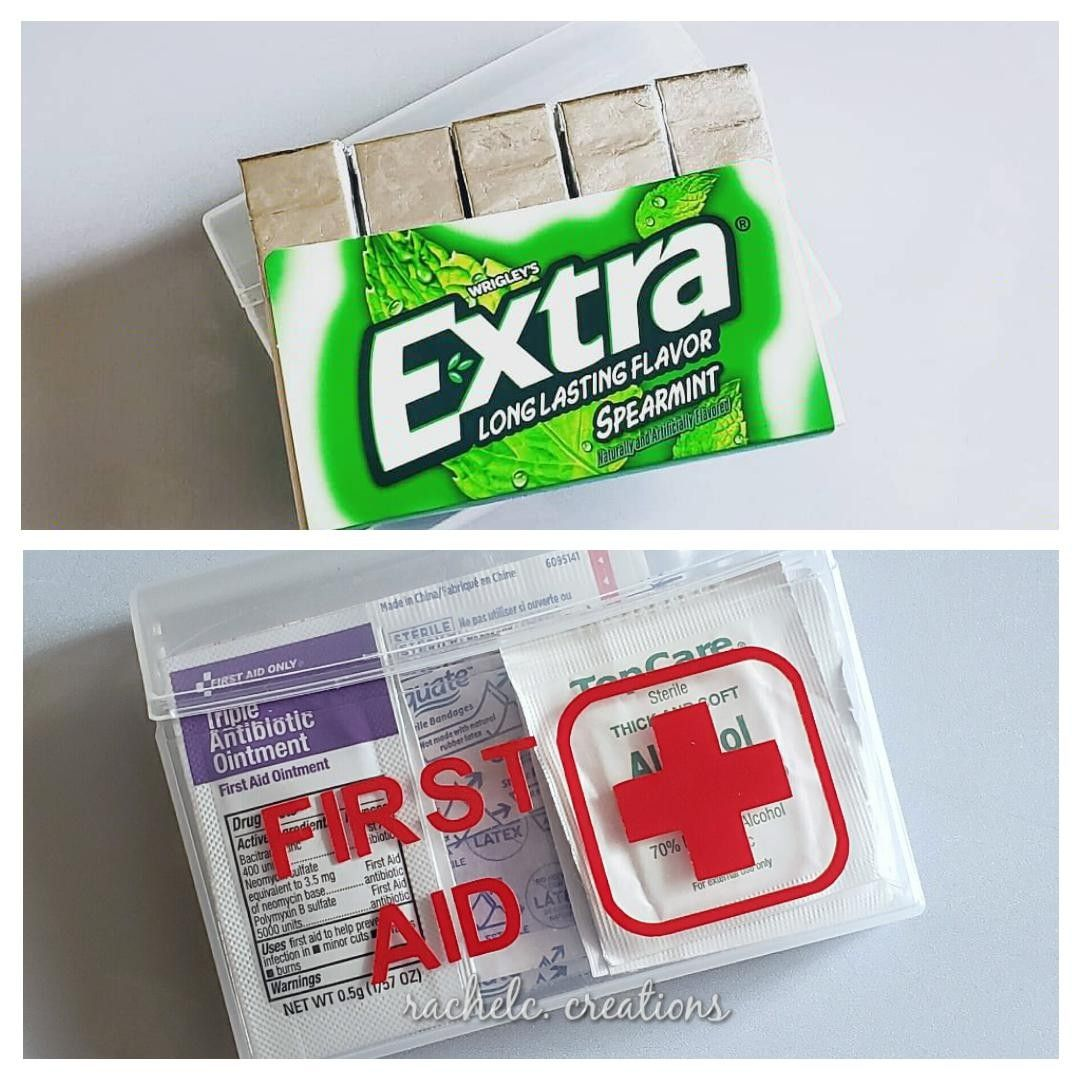 Diy First Aid Kit Using Plastic Container From Extra Gum Diy First Aid Kit Craft Organization Diy Extra Gum