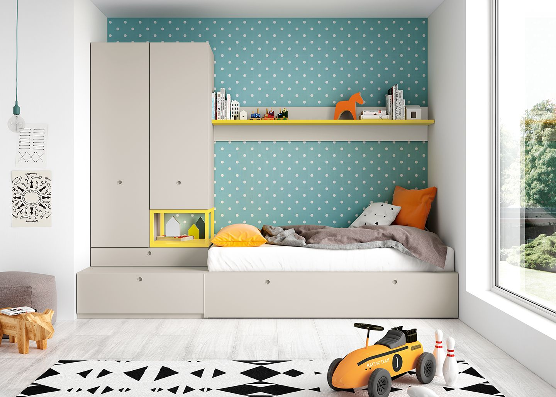 Dormitorio juvenil dos camas t rtola y amarillo antaix origami muebles dormitorios y - Dormitorios juveniles dos camas ...