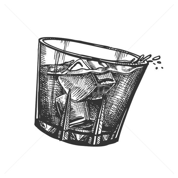 Design Glass With Whisky And Ice Cubes, Glass Ice Cubes Vector