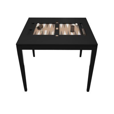 Oomph 36″ Backgammon Table Table Top Color: Oceanfront and White, Color: Tricorn Black