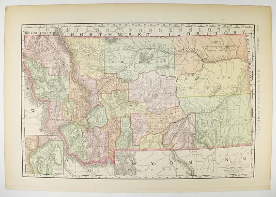 Vintage Map of Montana MT Map 1896 Rand McNally Map Antique Montana ...
